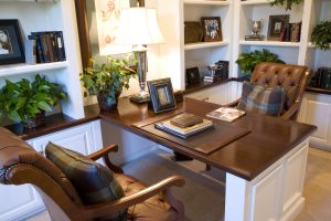 Luxury home office with contemporary decor.